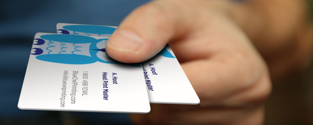 Business cards blue owl printing make it count with custom business cards colourmoves